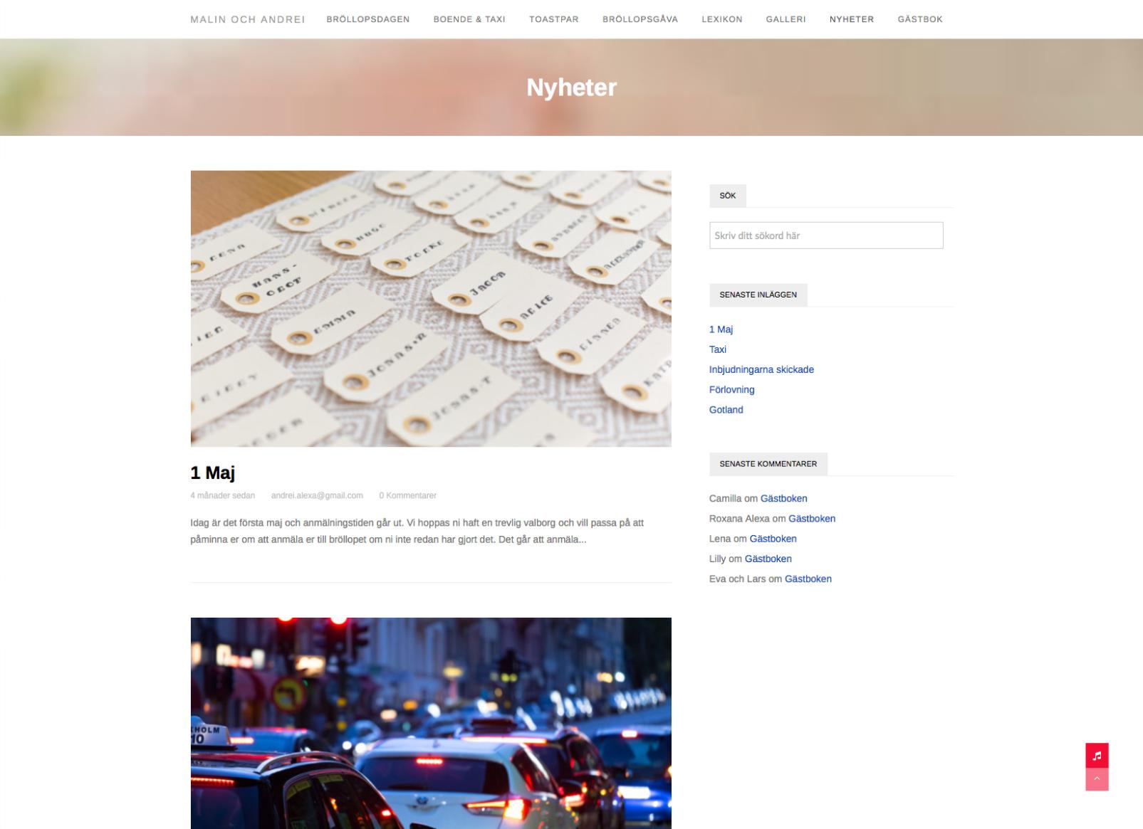 Malin och Andrei hemsida nyhetsblogg Alexa Produktion