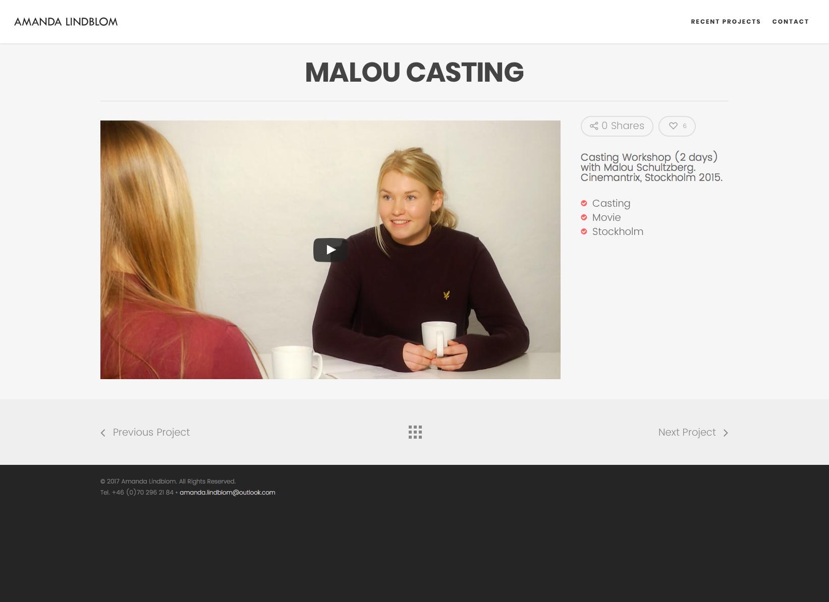 Amanda Lindblom Malou Casting Alexa Produktion